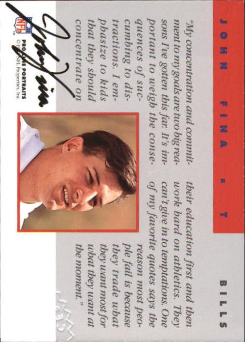 1992 Pro Line Portraits Autographs #45 John Fina back image