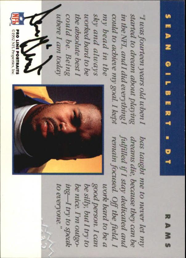 1992 Pro Line Portraits Autographs #54 Sean Gilbert back image