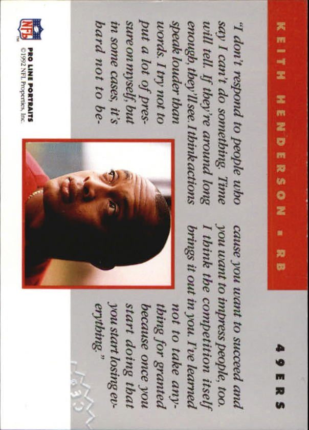 1992 Pro Line Portraits Autographs #64 Keith Henderson back image