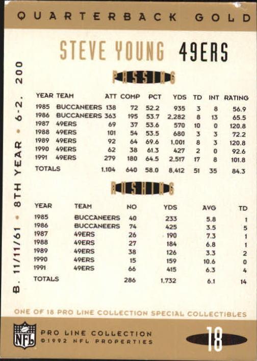 1992 Pro Line Portraits QB Gold #18 Steve Young back image