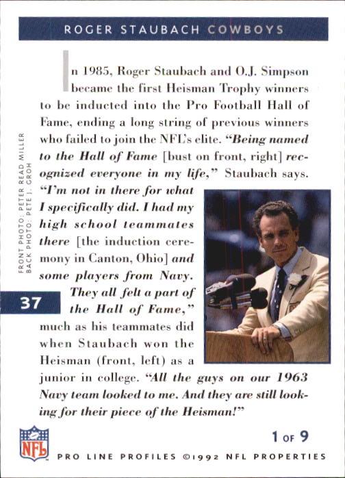 1992 Pro Line Profiles #37 Roger Staubach RET back image