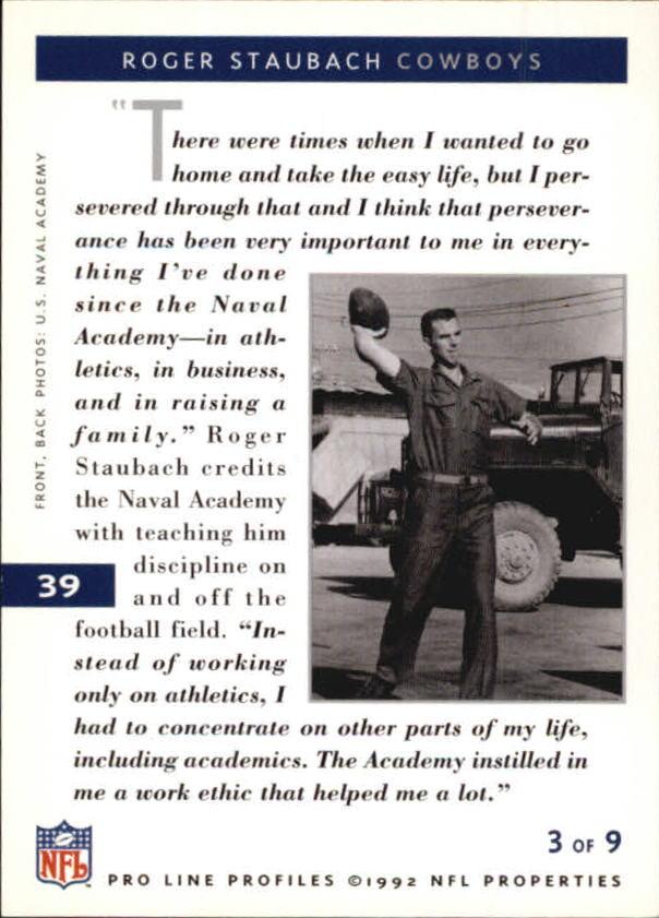 1992 Pro Line Profiles #39 Roger Staubach RET back image