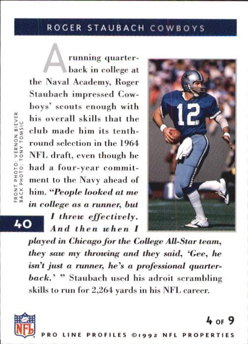 1992 Pro Line Profiles #40 Roger Staubach RET back image