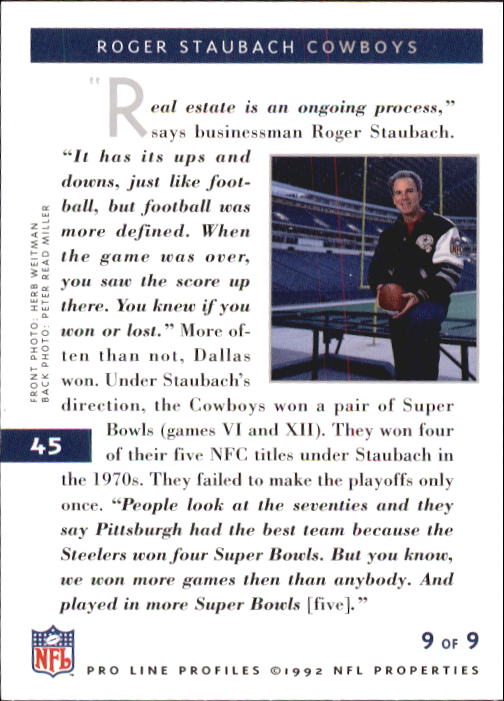1992 Pro Line Profiles #45 Roger Staubach RET back image
