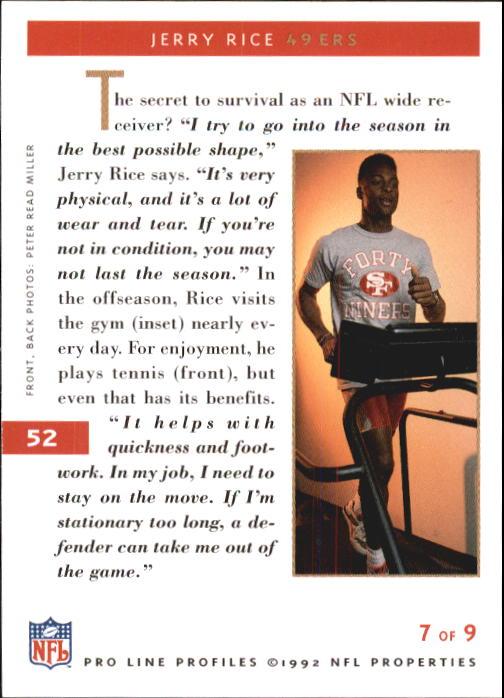 1992 Pro Line Profiles #52 Jerry Rice back image