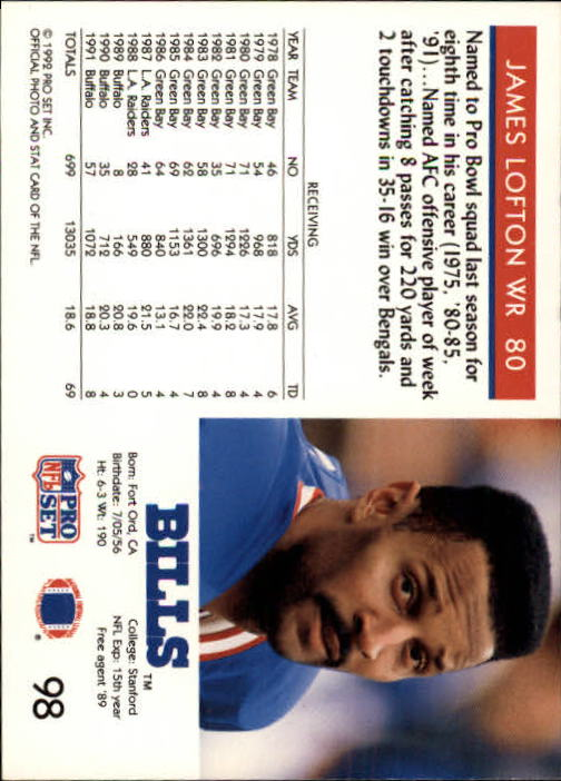 1992 Pro Set #98 James Lofton UER/(Says he played in '75/Pro Bowl, but he wasn't/in NFL until 1978) back image