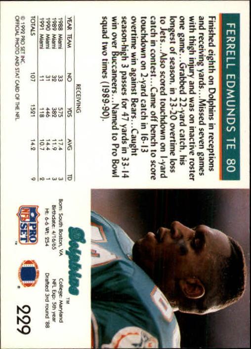 1992 Pro Set #229 Ferrell Edmunds back image
