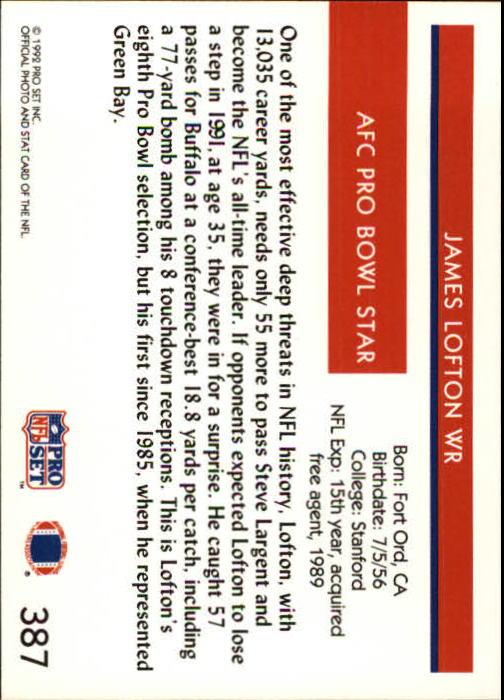 1992 Pro Set #387 James Lofton PB back image