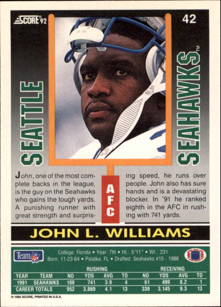 1992 Score #42 John L. Williams back image