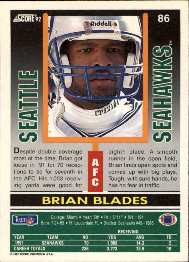 1992 Score #86 Brian Blades back image