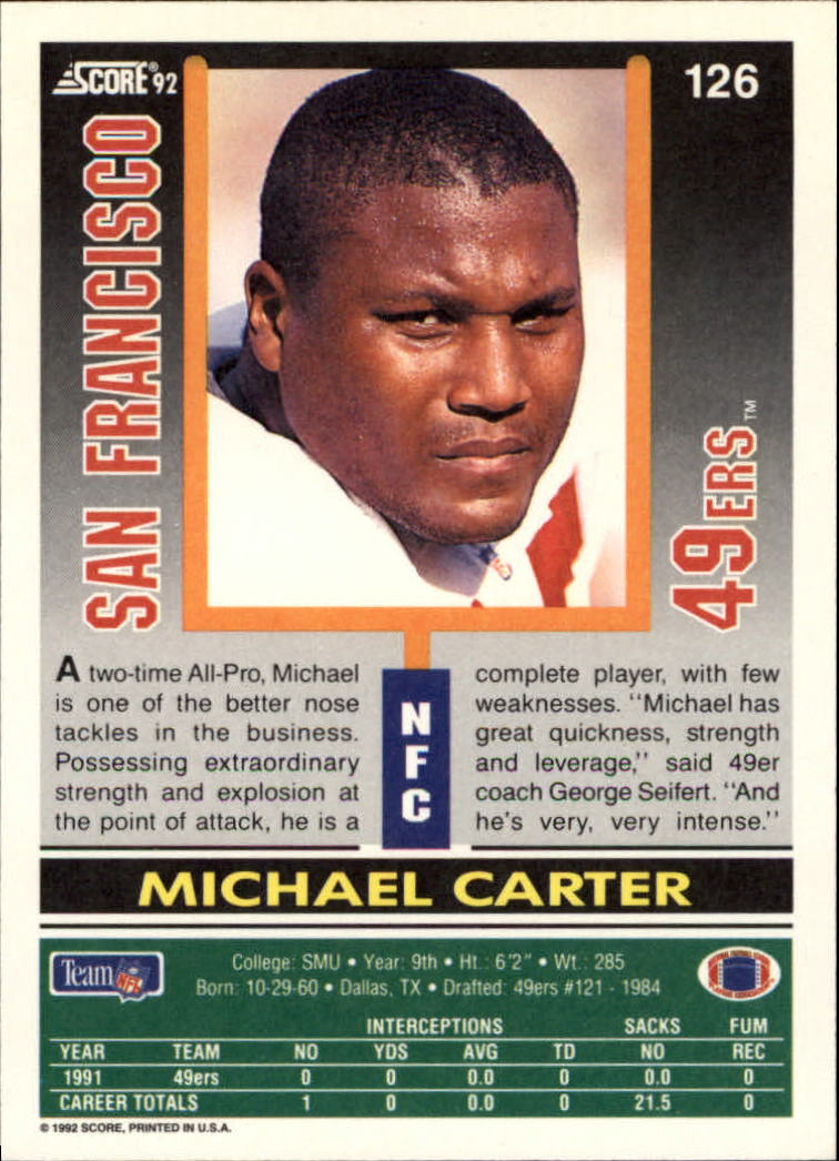 1992 Score #126 Michael Carter back image