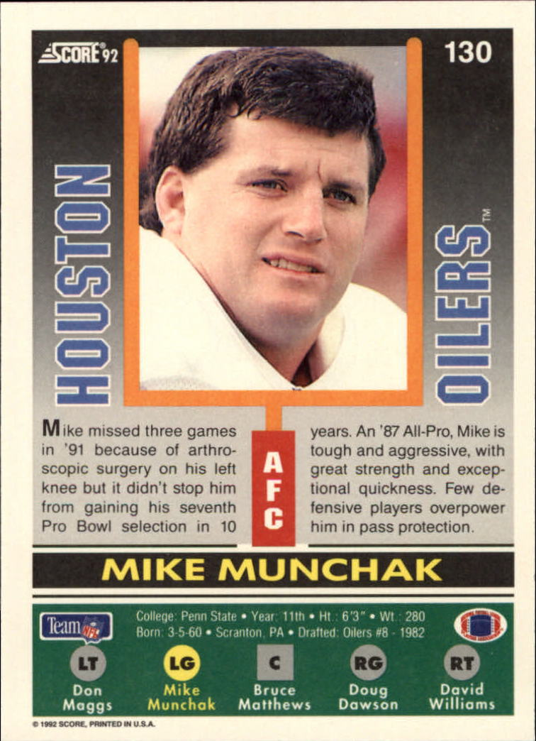 1992 Score #130 Mike Munchak back image