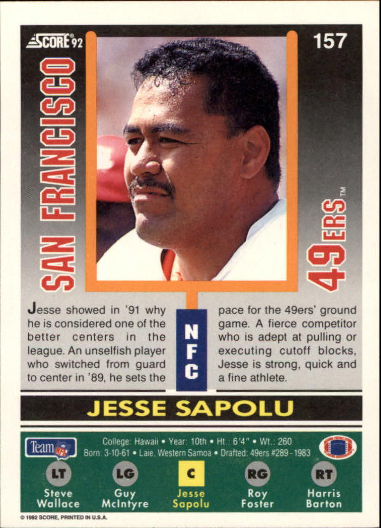 1992 Score #157 Jesse Sapolu back image