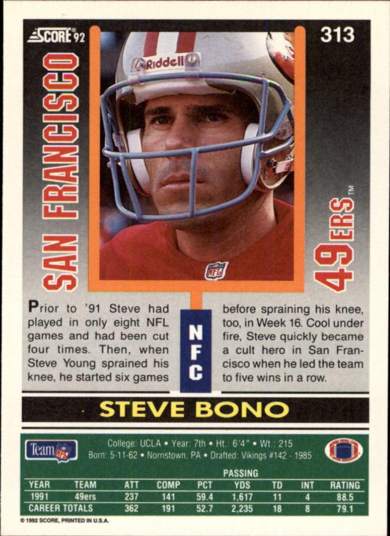 1992 Score #313 Steve Bono RC back image