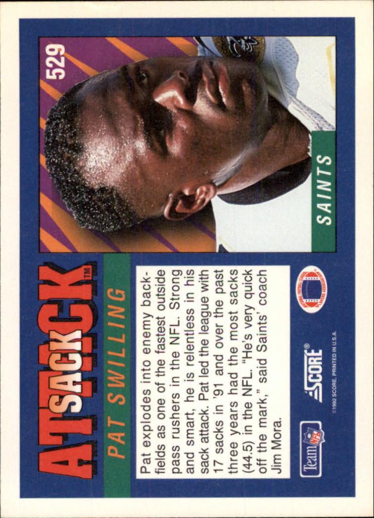 1992 Score #529 Pat Swilling SA back image