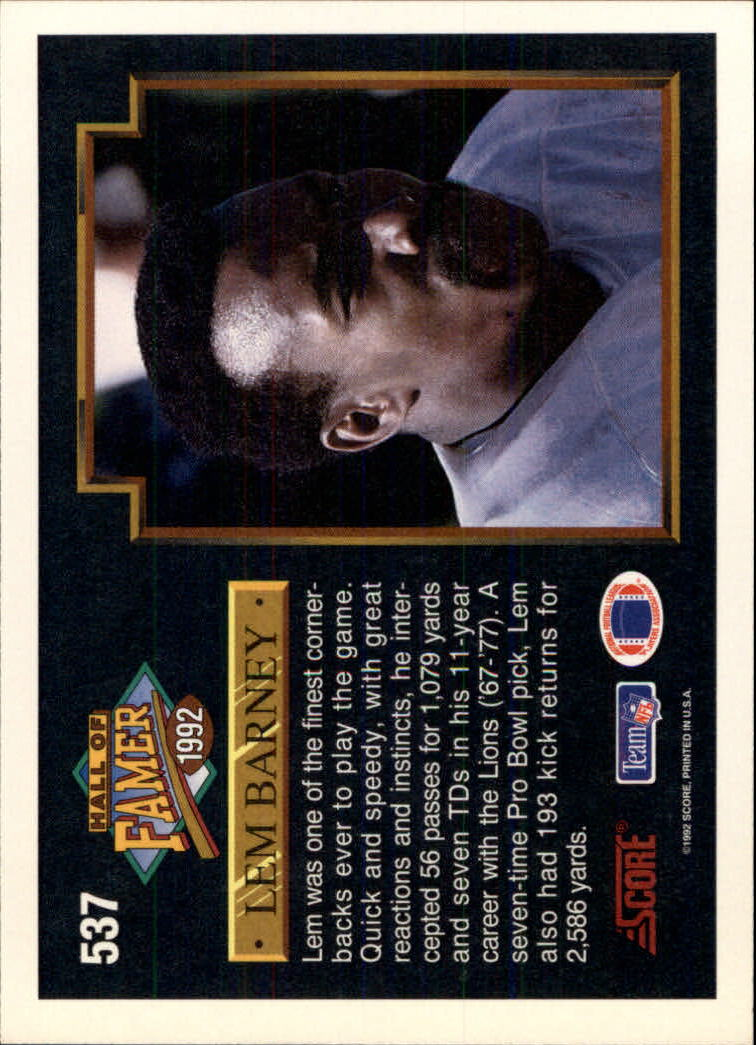 1992 Score #537 Lem Barney HOF back image