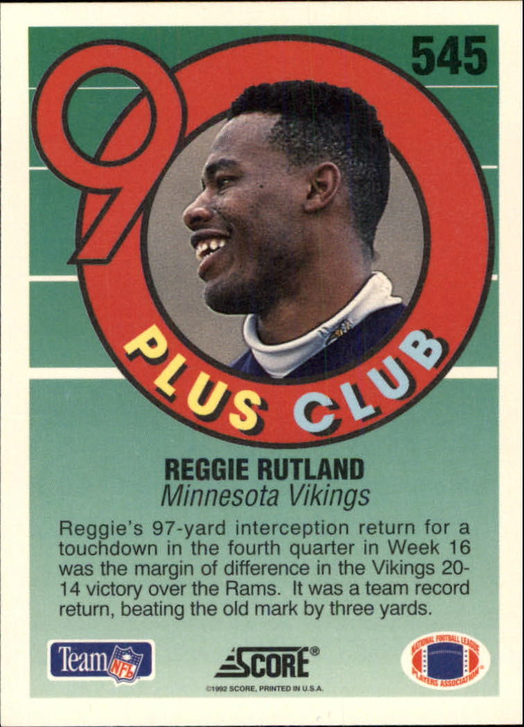 1992 Score #545 Reggie Rutland 90 back image