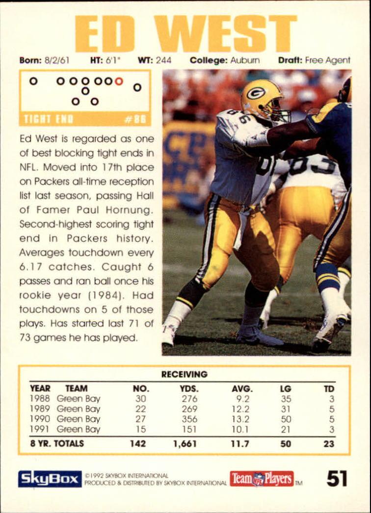 1992 SkyBox Impact #51 Ed West back image