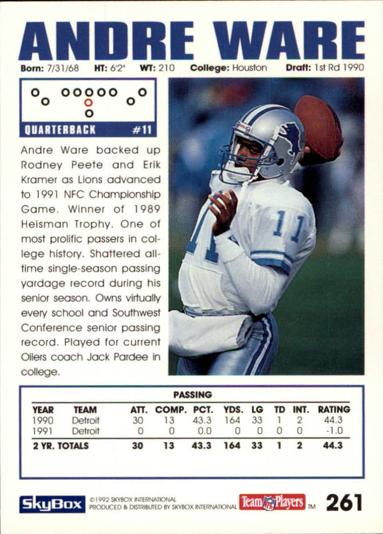 1992 SkyBox Impact #261 Andre Ware back image