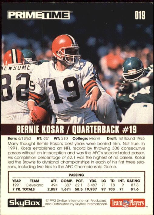 1992 SkyBox Prime Time #19 Bernie Kosar back image