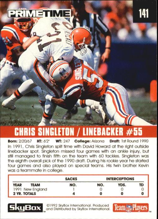 1992 SkyBox Prime Time #141 Chris Singleton back image