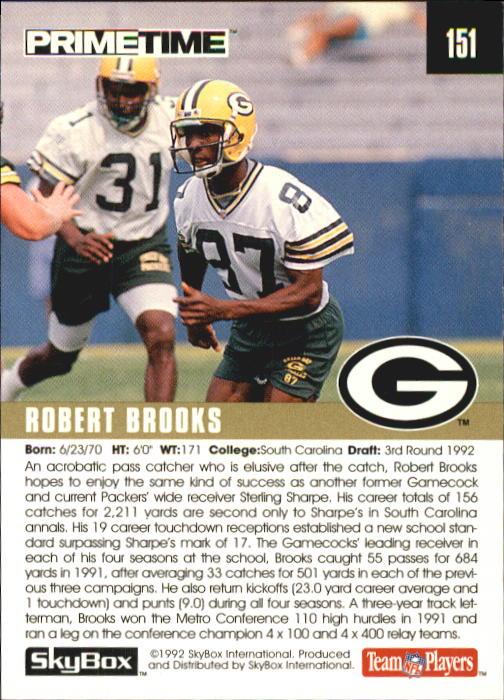 1992 SkyBox Prime Time #151 Robert Brooks RC back image