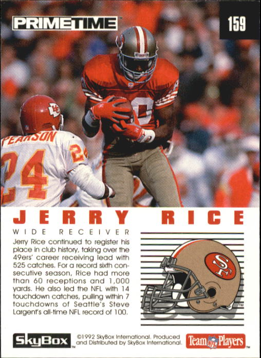 1992 SkyBox Prime Time #159 Jerry Rice MVP back image