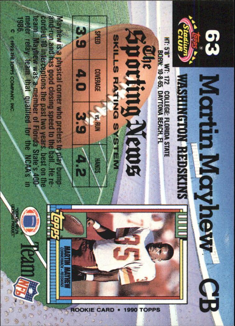 1992 Stadium Club #63 Martin Mayhew back image