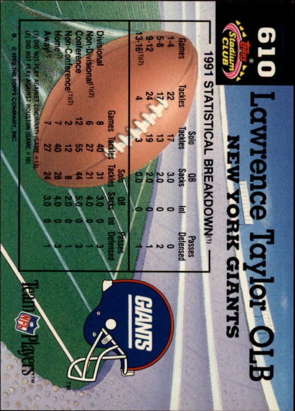 1992 Stadium Club #610 Lawrence Taylor MC back image