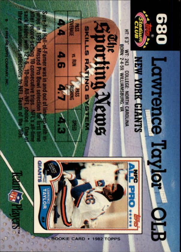 1992 Stadium Club #680 Lawrence Taylor back image