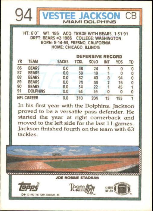 1992 Topps #94 Vestee Jackson back image