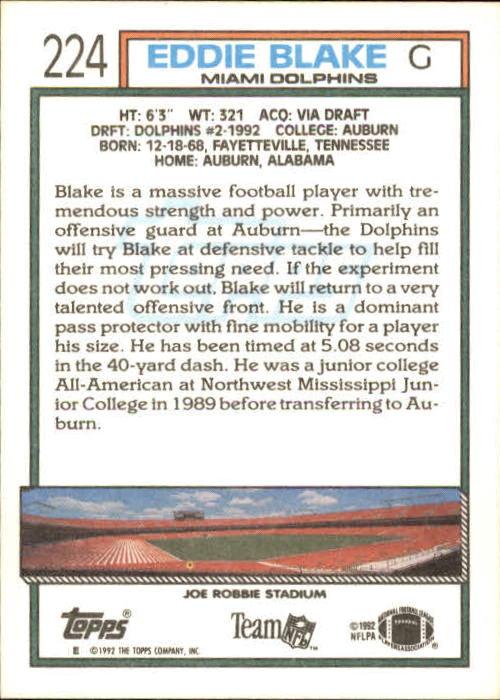 1992 Topps #224 Eddie Blake RC back image
