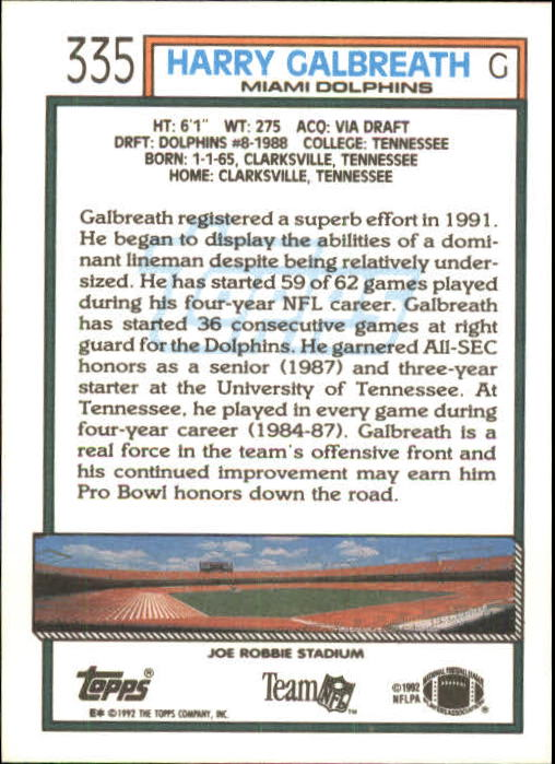 1992 Topps #335 Harry Galbreath back image
