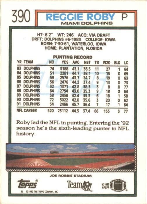 1992 Topps #390 Reggie Roby back image
