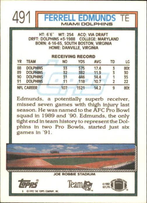1992 Topps #491 Ferrell Edmunds back image
