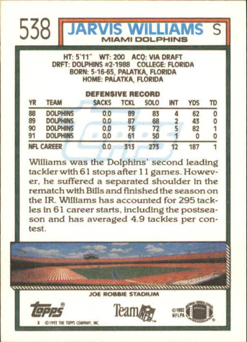 1992 Topps #538 Jarvis Williams back image