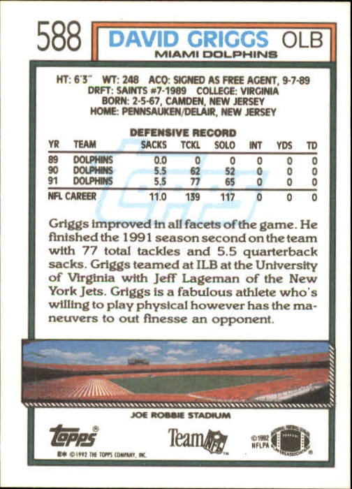 1992 Topps #588 David Griggs back image