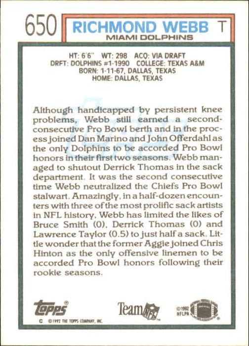 1992 Topps #650 Richmond Webb back image