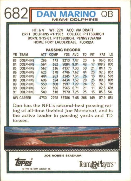 1992 Topps #682 Dan Marino back image