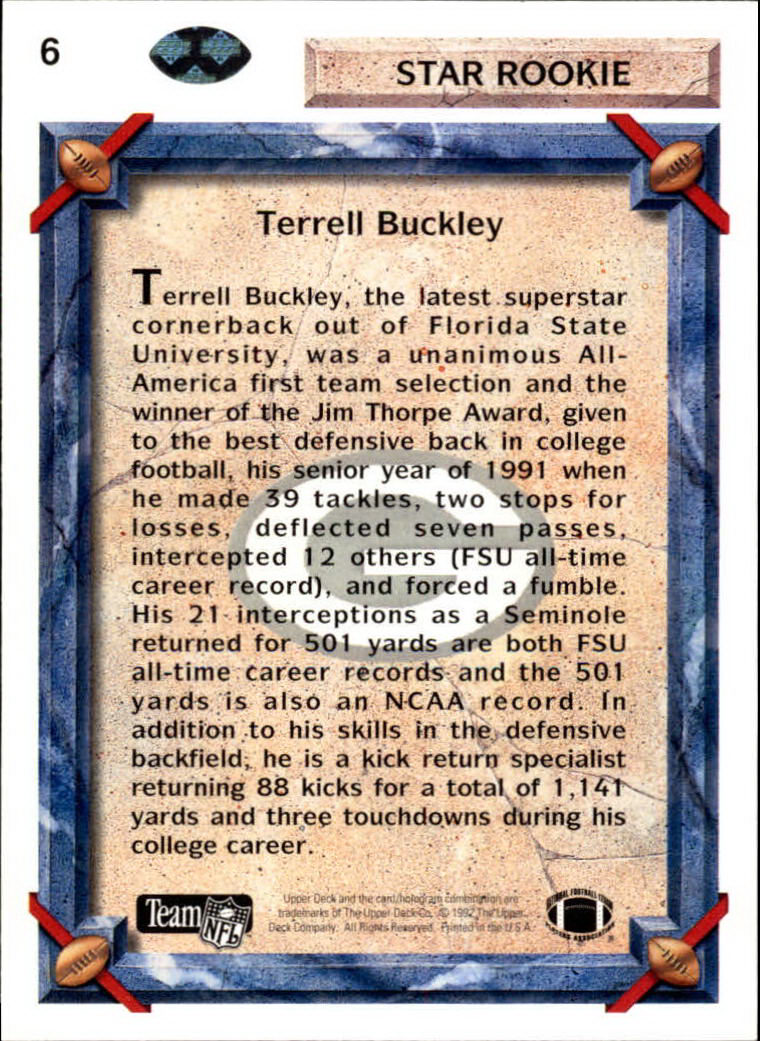 1992 Upper Deck #6 Terrell Buckley RC back image