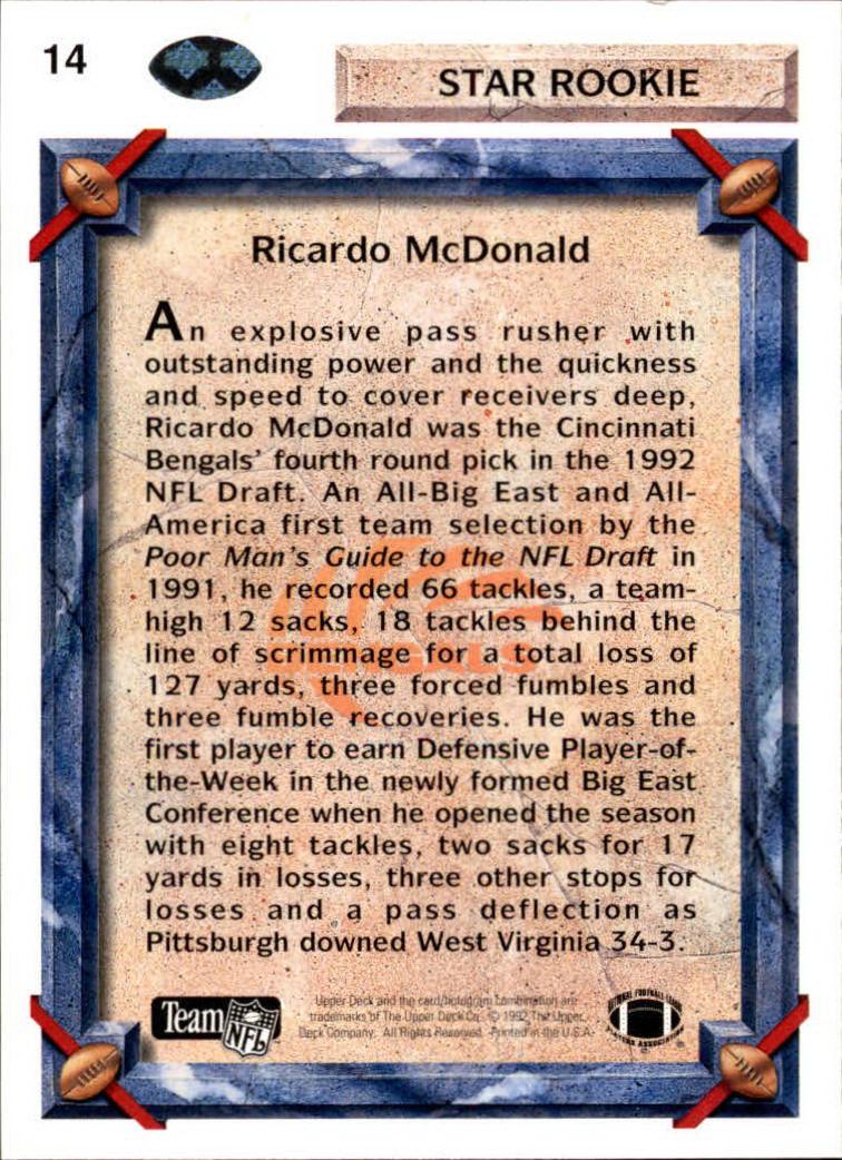 1992 Upper Deck #14 Ricardo McDonald RC back image