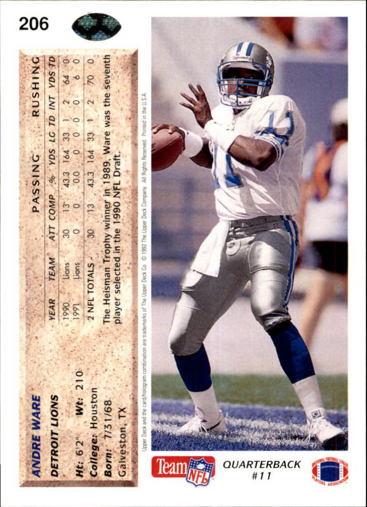 1992 Upper Deck #206 Andre Ware back image