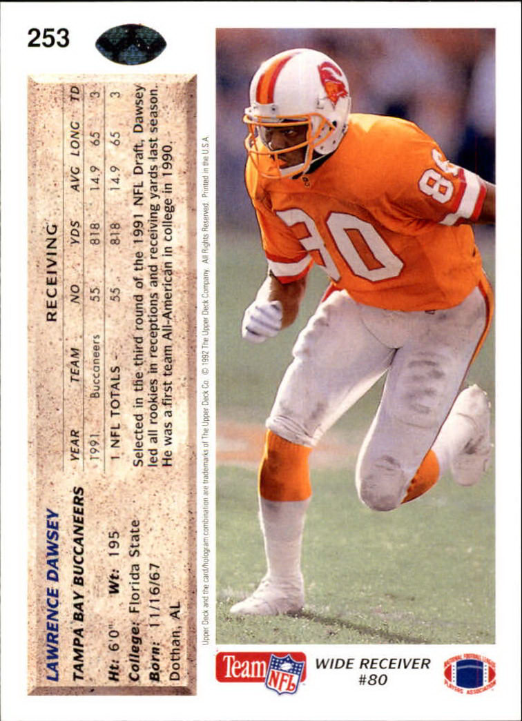 1992 Upper Deck #253 Lawrence Dawsey back image