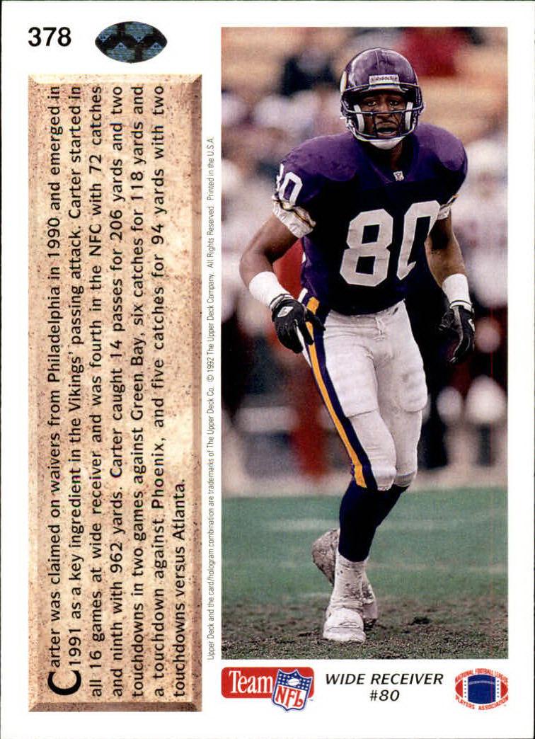 1992 Upper Deck #378 Cris Carter MVP back image
