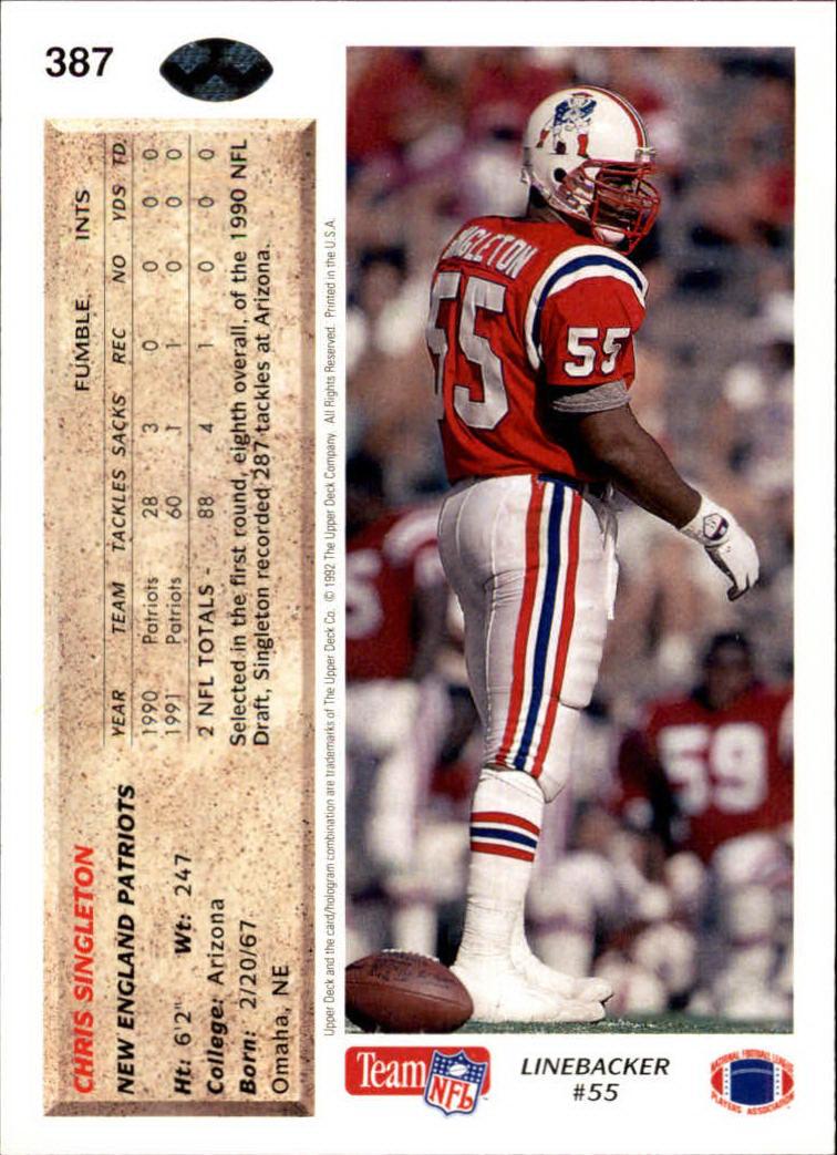 1992 Upper Deck #387 Chris Singleton back image