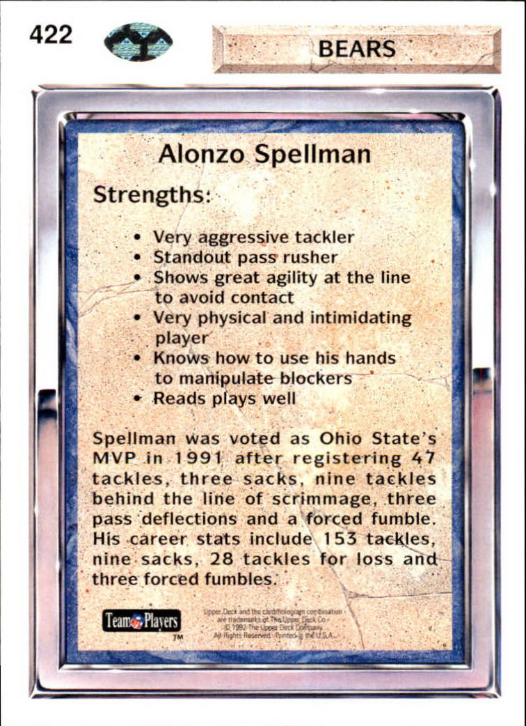 1992 Upper Deck #422 Alonzo Spellman back image