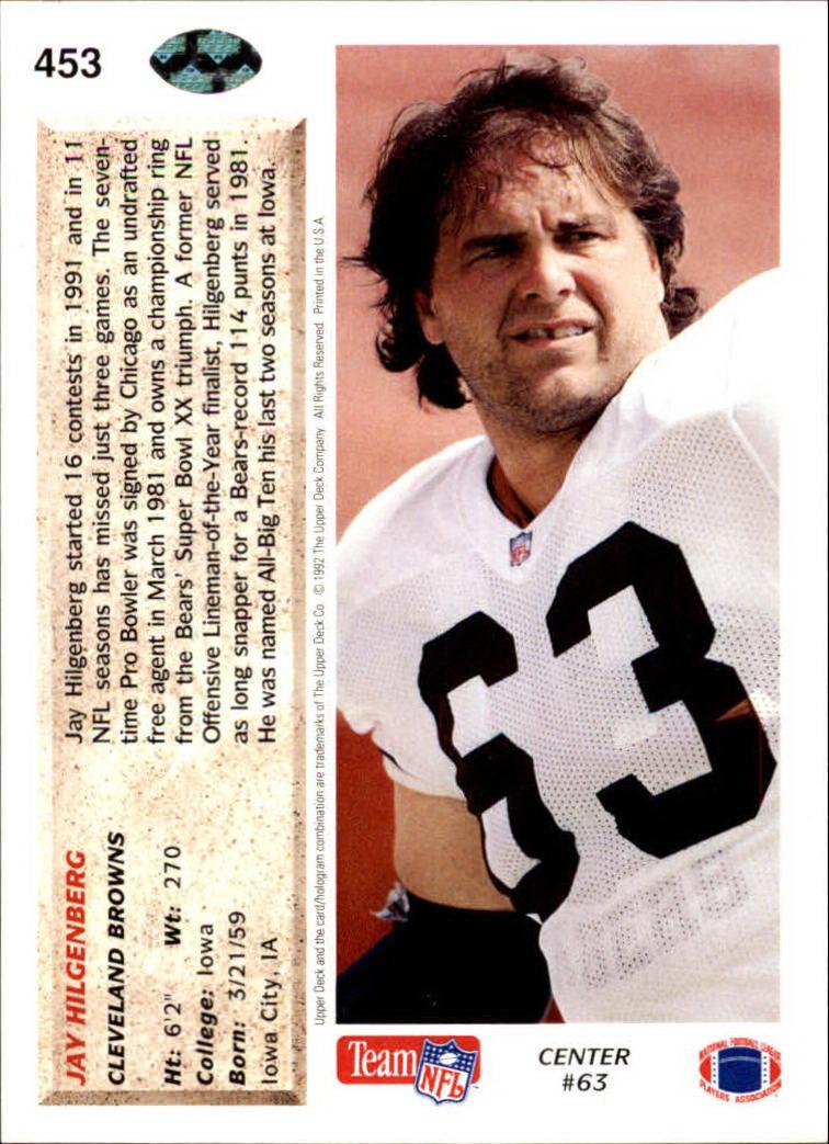 1992 Upper Deck #453 Jay Hilgenberg back image