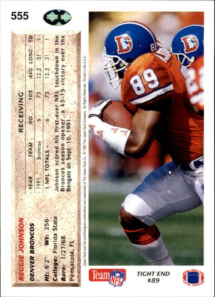 1992 Upper Deck #555 Reggie Johnson back image