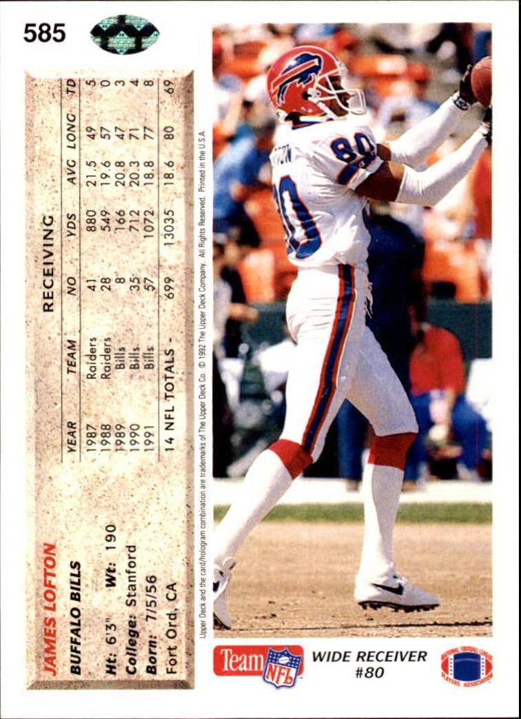 1992 Upper Deck #585 James Lofton back image