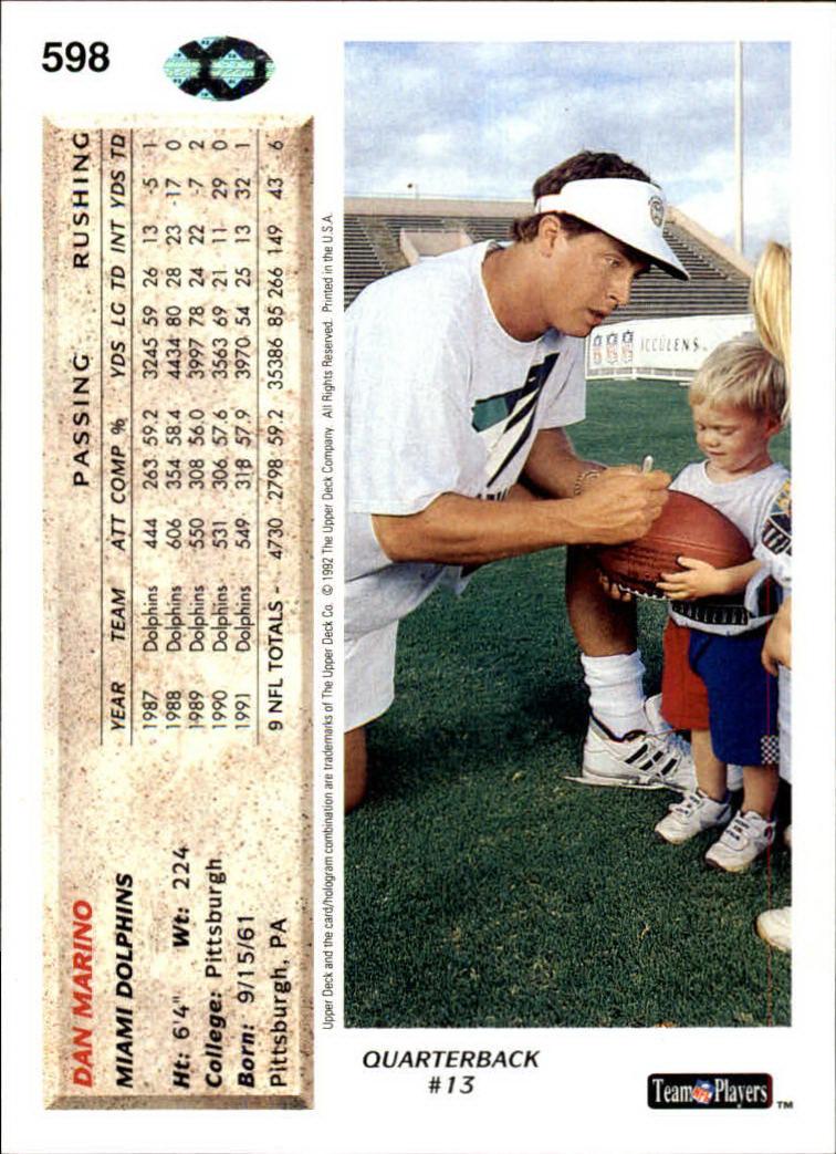 1992 Upper Deck #598 Dan Marino back image